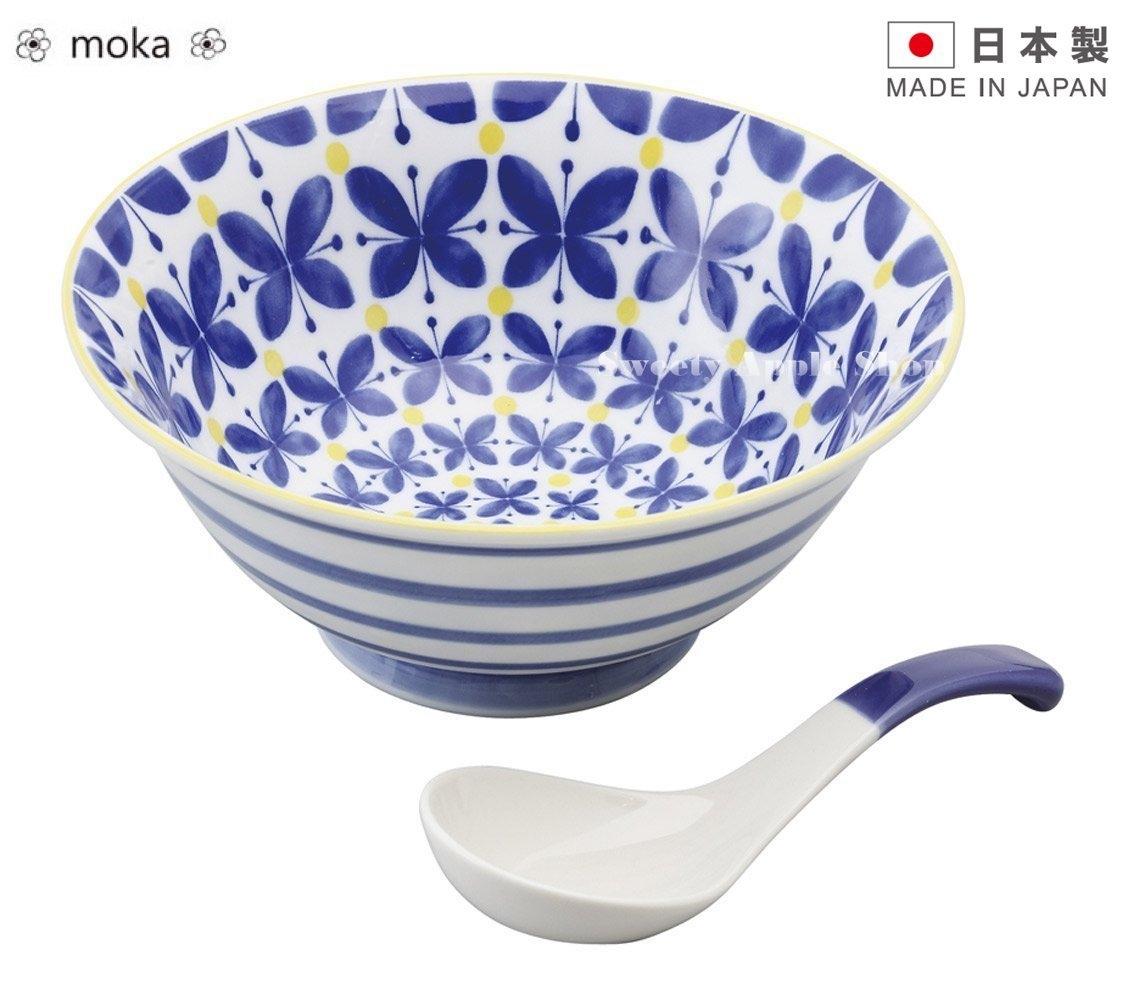 日本製日本限定moka陶瓷湯碗附湯匙套組藍色