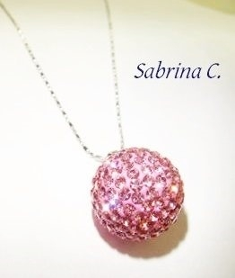 項鍊Sabrina C.粉紅櫻水晶球
