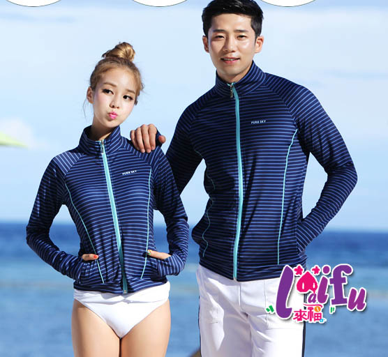來福外套V186沖浪服條紋外套詩詩浮潛長袖泳衣防曬外套情侶外套女生單外套售價1000元