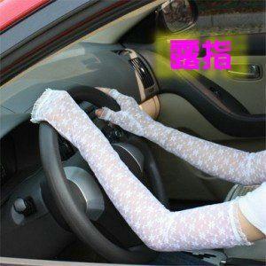 夏天防晒透氣蕾絲長手套 (加長露指)-艾發現