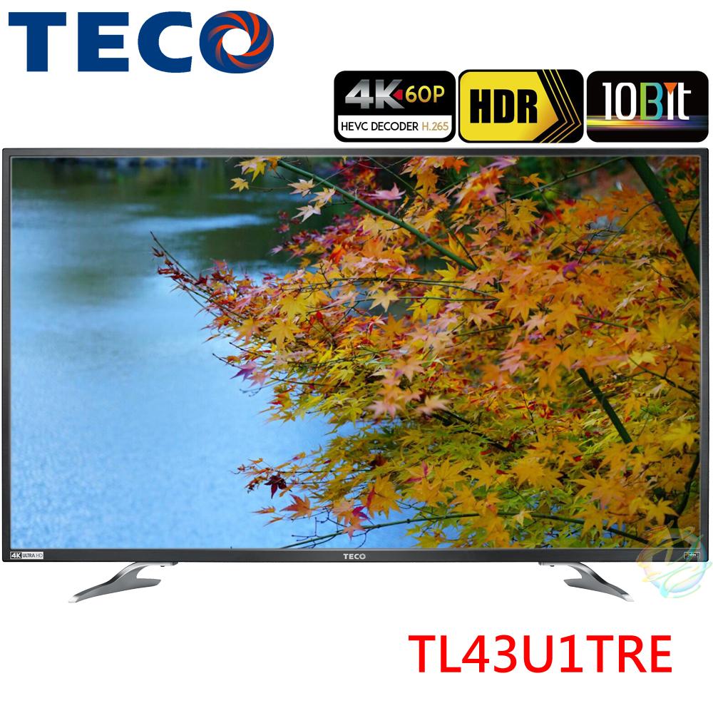促銷特價中TECO東元43吋真4K 60P聯網液晶電視TL43U1TRE附視訊盒