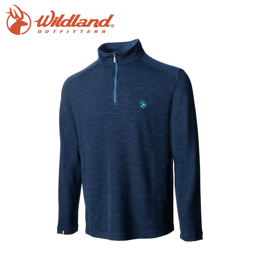 【Wildland 荒野 男 彈性雙色立領長袖上衣《深藍》】0A72608/半領襟/運動衣/休閒衫/吸濕排汗