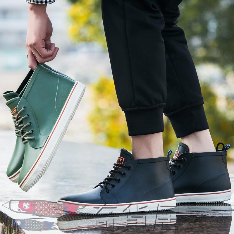 雨鞋男低筒雨靴防滑繫帶膠鞋短筒