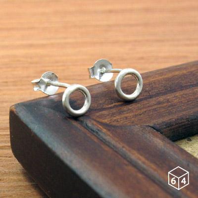 圓圈耳環圓線甜甜圈耳環925純銀圓形耳環-64DESIGN銀飾