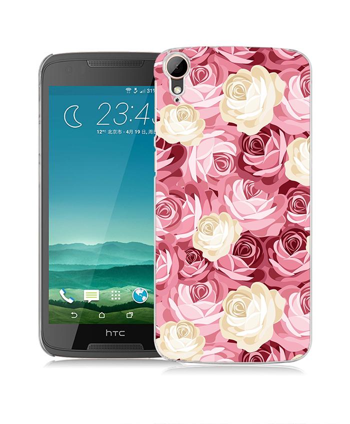 俏魔女美人館粉色花花立體浮雕水晶硬殼HTC Desire 828手機殼手機套保護套保護殼