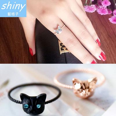 30A38 shiny藍格子-可愛俏麗可愛逼真小貓咪鑲鑽食指尾戒