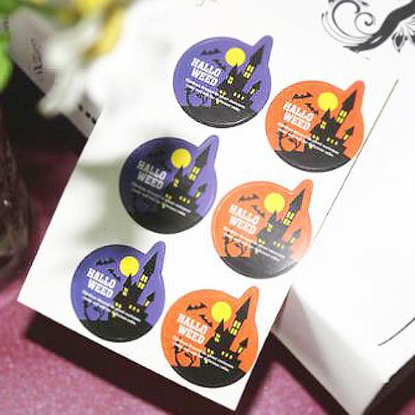 【貼紙膠帶3件58折】【BlueCat】萬聖節黑夜蝙蝠城堡圓形裝飾貼紙(6枚入)