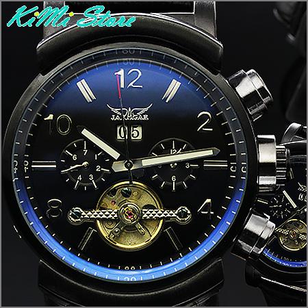 JARAGAR 厚實感陀飛輪大錶徑 真三眼 自動上鏈機械錶 軍錶款 型男錶  【KIMI store】