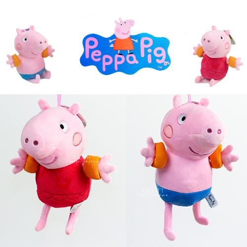 粉紅豬小妹玩偶娃娃-中型 正版佩佩豬 喬治 佩佩 去游泳 背包吊飾 絨毛玩偶