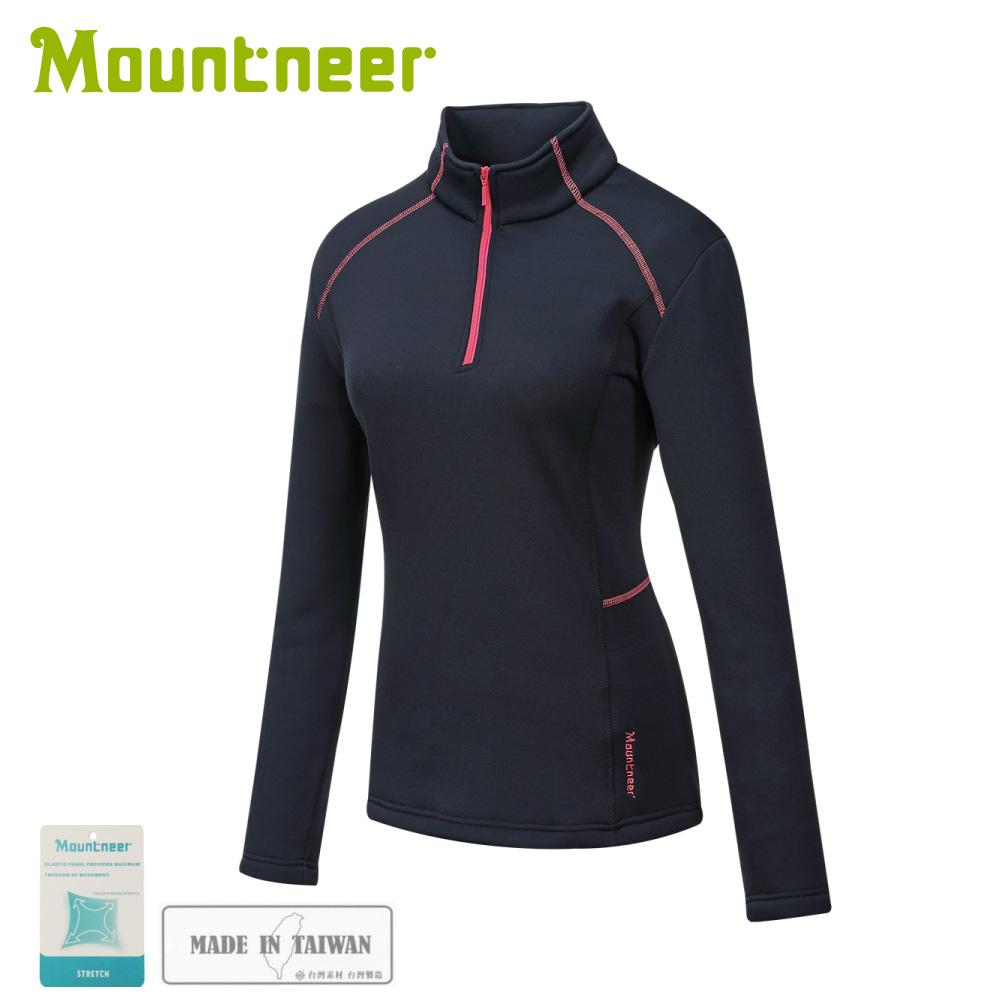 【Mountneer 山林 女針織保暖上衣《黑》】32P26/保暖中層/長袖上衣