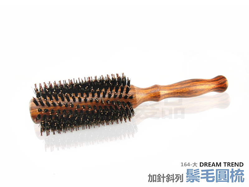 【DT髮品&彩妝】專業級 純鬃毛加針斜列圓梳 (大) 豬鬃毛 台灣製造