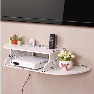 創意牆上電視機頂盒架免打孔置物架客廳路由器收納盒壁掛臥室隔板加長曲線B款