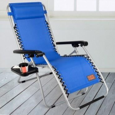 LIFECODE特斯林透氣無限段折疊躺椅-附置物杯架-藍色