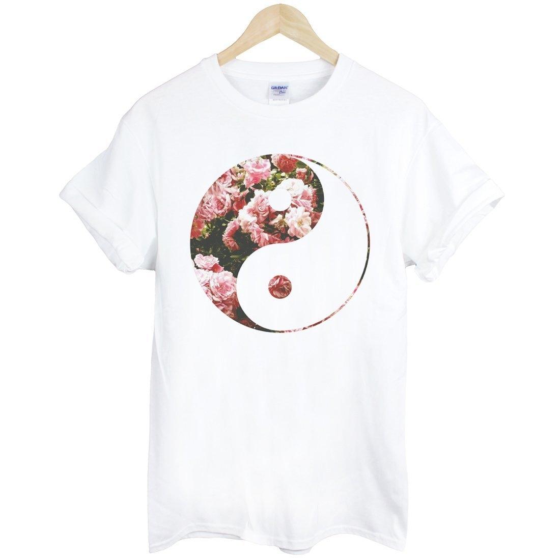 Ying Yang-Flower短袖T恤-白色 陰陽 太極 花 銀河系 三角形 宇宙 文青 時尚 設計 自創 品牌 時髦