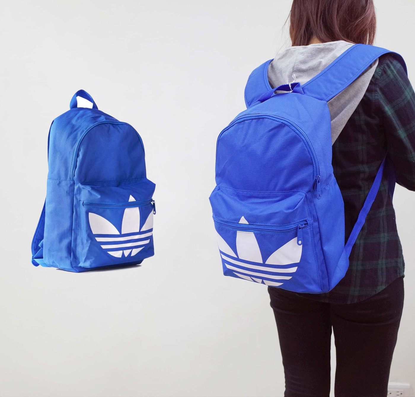 愛迪達adidas Classic Trefoil Backpack藍白三葉草雙肩後背包PUMP306 AJ8528