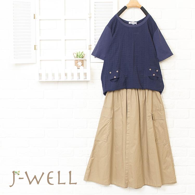 J-WELL 趣味貼口袋上衣裙二件組 (組合A16 8P8290藍 8J1569卡)