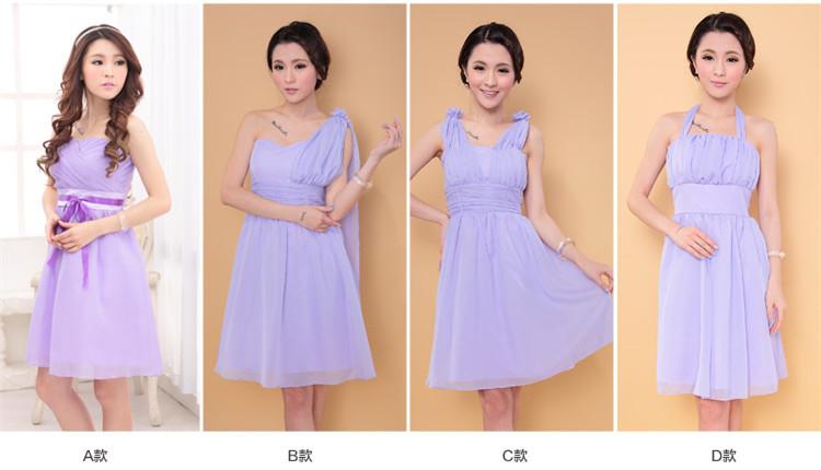 3C膜露露伴娘團禮服短款禮服伴娘服伴娘禮服小禮服-紫色款