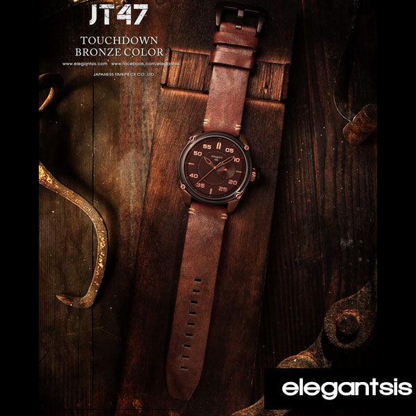 ELEGANTSIS個性大錶面美式仿舊銅色厚皮帶錶x47mm ELJT47-PB09LC公司貨名人鐘錶高雄門市