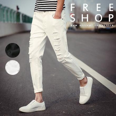 休閒長褲 Free Shop【QTJLK102】搖滾刀割雙排抓破損休閒工作長褲原色牛仔長褲 全黑色白色 有大尺碼