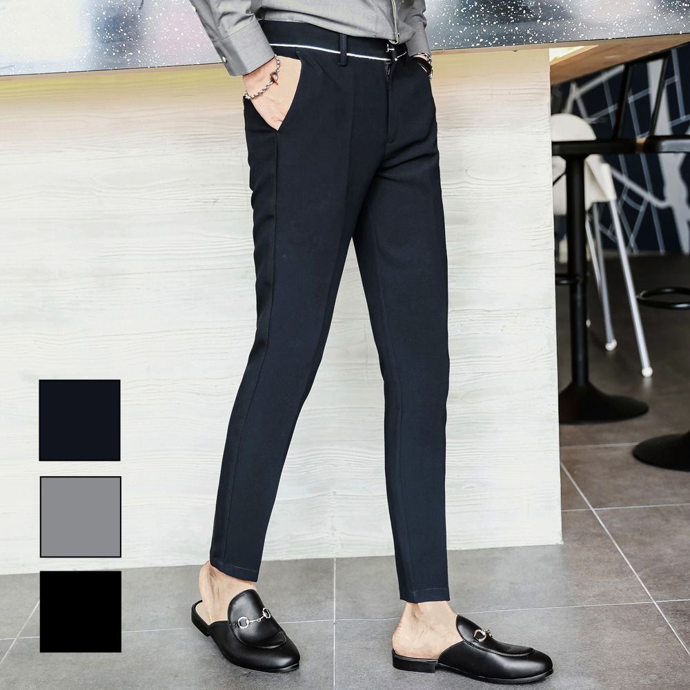 男兩件組成套窄版休閒褲西裝褲L AME CHIC俐落撞色滾邊素面微彈窄管修身西裝褲EBT081101