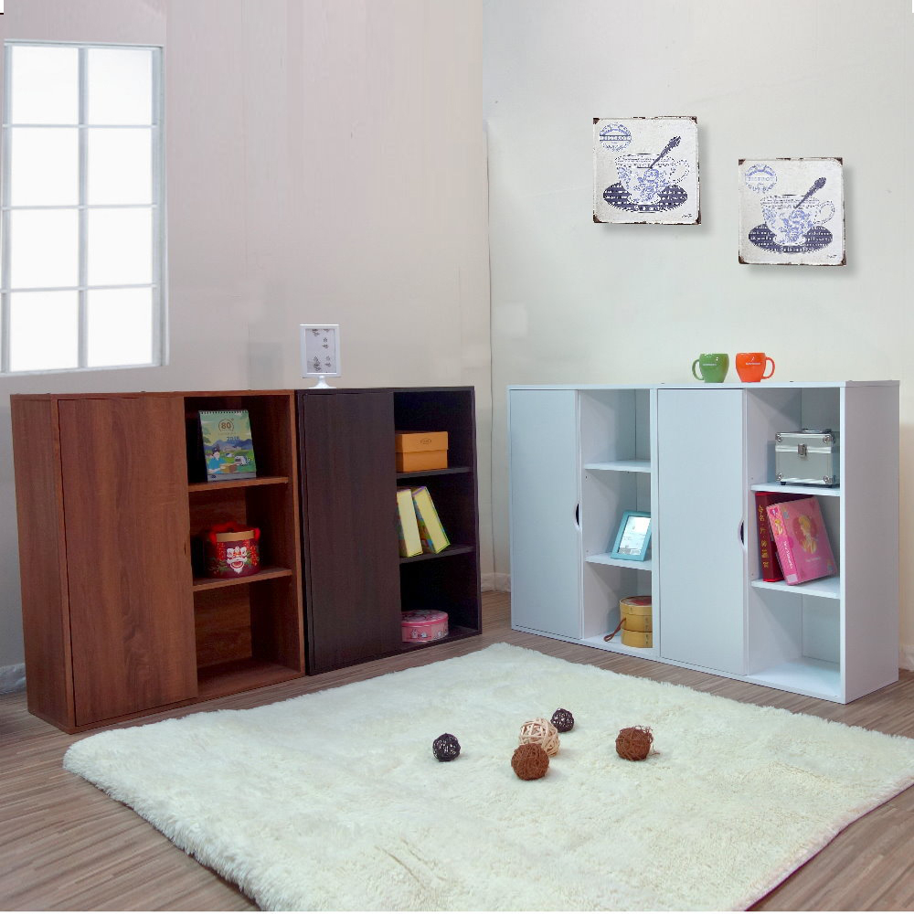 品味完家-單門六格書櫃 展示架 書架 附門款式 寬69公分/E1環保材質