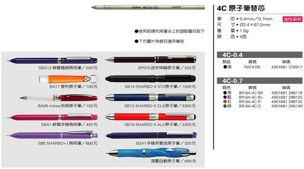 ZEBRA 4C-0.7筆芯(原子筆芯)