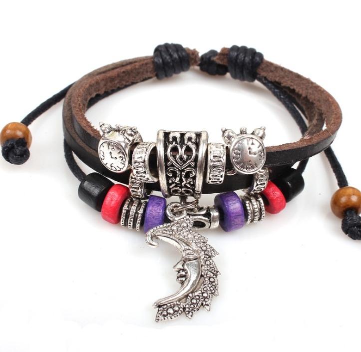 爆款 眼睛 韓版 時尚 男士 手工 牛皮 手鍊 復古 串珠 飾品