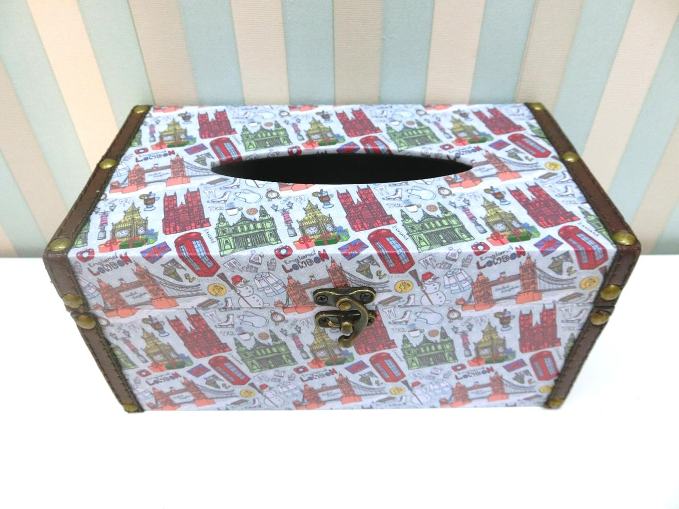 木製長形面紙盒LA52英倫風貼皮面紙盒美式鄉村皮革面紙盒木製面紙盒收納絢寓居家