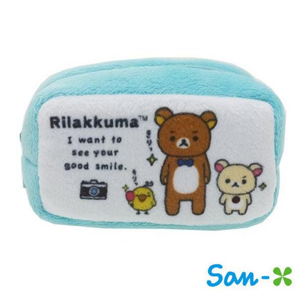 日本進口正版San-X拉拉熊水藍款棉質長型收納包零錢包懶懶熊Rilakkuma 430115