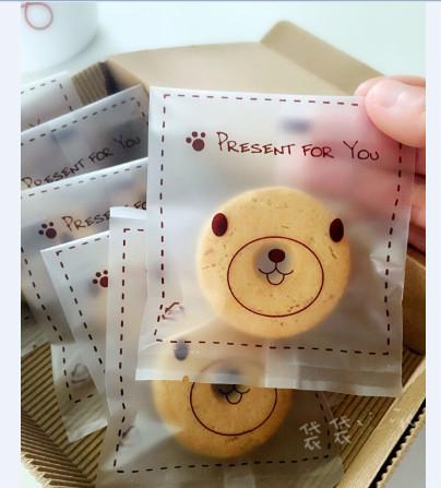 95入 小熊半透明 磨砂餅乾袋 需用封口機封口 平口袋 月餅袋 食品級 包裝袋
