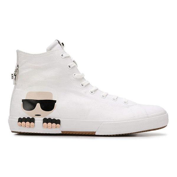 Karl Lagerfeld鞋 KAMPUS IKONIK高筒帆布休閒男鞋-白