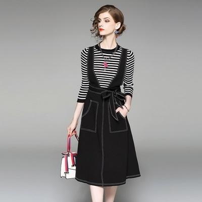 吊帶洋裝兩件套-長袖圓領條紋牛仔女連身裙73of145巴黎精品