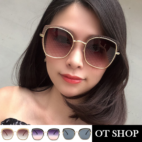 OT SHOP太陽眼鏡‧顯小臉方框墨鏡‧復古壓紋 韓版明星同款 ‧全黑/漸層灰/漸層茶‧現貨‧U113