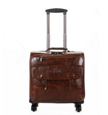 手提皮箱商務電腦行李箱18寸油皮棕色藍星居家