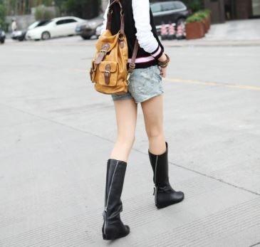 3C膜露露單品不退換貨新款秋冬真皮女靴高筒內增高長靴平跟中筒單靴