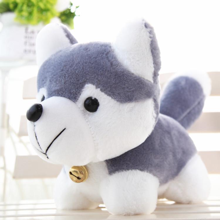 AJ063 25公分大哈士奇鈴鐺小狗布偶公仔交換禮物絨毛玩具禮物