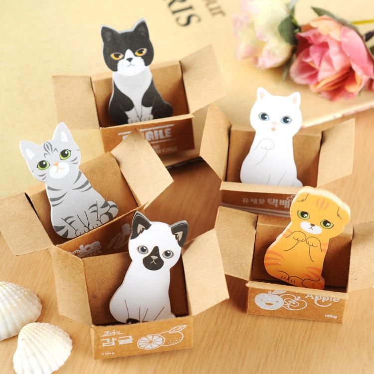 【00330】 日韓文具 可愛紙箱貓咪便條紙 喵星人