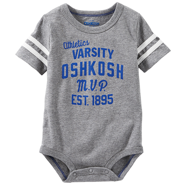 Carter's OshKosh B'gosh美國童裝連身衣短褲短袖灰色字母6M 9M 12M 18M 24M