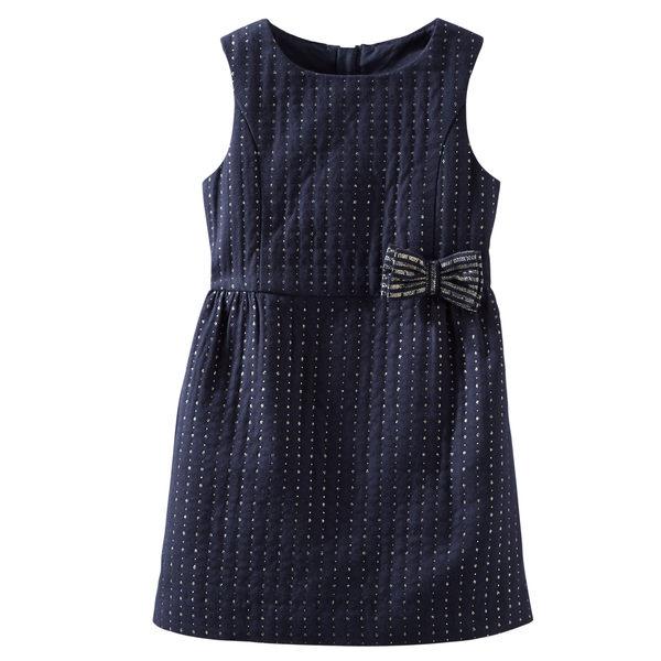 OshKosh洋裝深藍色銀蔥蝴蝶結厚洋裝