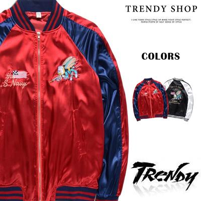 潮段班SD090008雙色拼接搭配精緻電繡橫須賀風格美軍刺繡絲綢緞面風衣外套夾克棒球外套