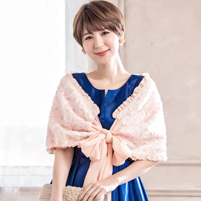 玫瑰蕾絲亮片荷葉花邊雪紡綁結小披肩~禮服搭配~多色可選~美之札
