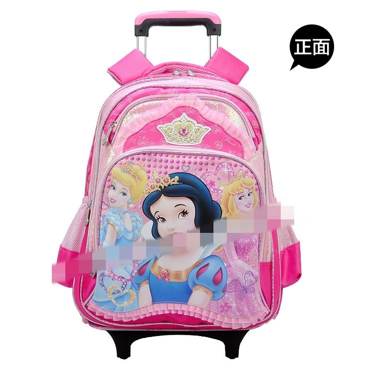正品迪士尼白雪公主兒童拉杆書包女卡通減負可拆卸書包帶防雨罩