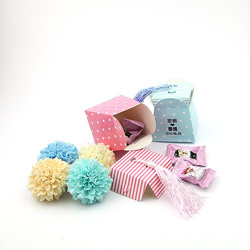幸福婚禮小物DIY活潑點點條紋流蘇喜糖盒桌上禮送客禮