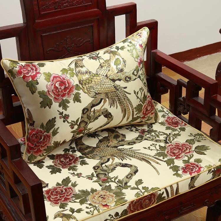 超豐國際紅木坐椅墊餐椅墊中式沙發花鳥仿古實木家具古典圈椅