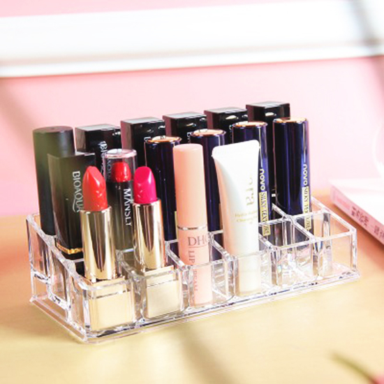 生活家精品P270無印風格系列-18格口紅收納盒壓克力化妝品透明化妝盒好拿