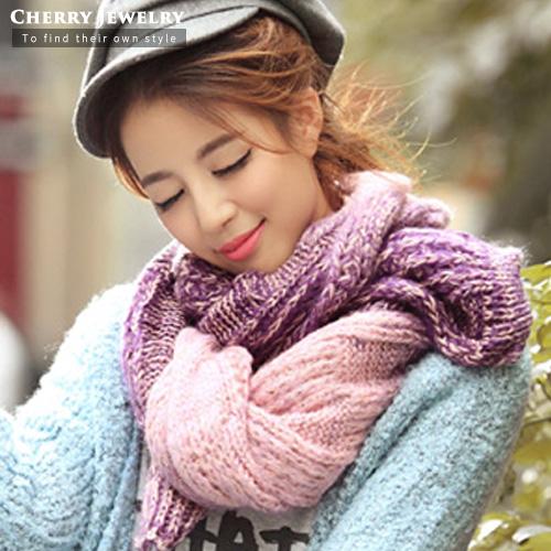 漸層色麻花造型圍巾10216櫻桃飾品10216