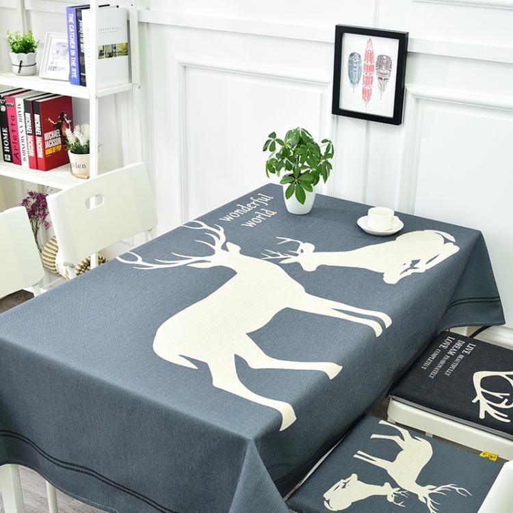 桌布布藝棉麻北歐麋鹿餐廳創意臺布客廳方桌長方形茶幾圓桌布蓋布【非凡】