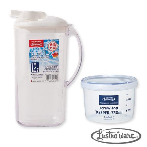 【Lustroware】日本進口微波保鮮罐耐熱水壺1.2L組