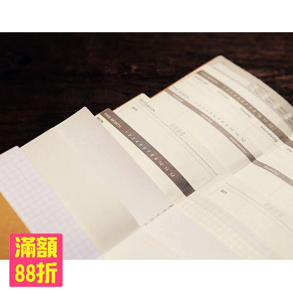 筆記本內頁適用於Traveler s Notebook旅人筆記本標準尺寸空白牛皮記帳日記橫格網點