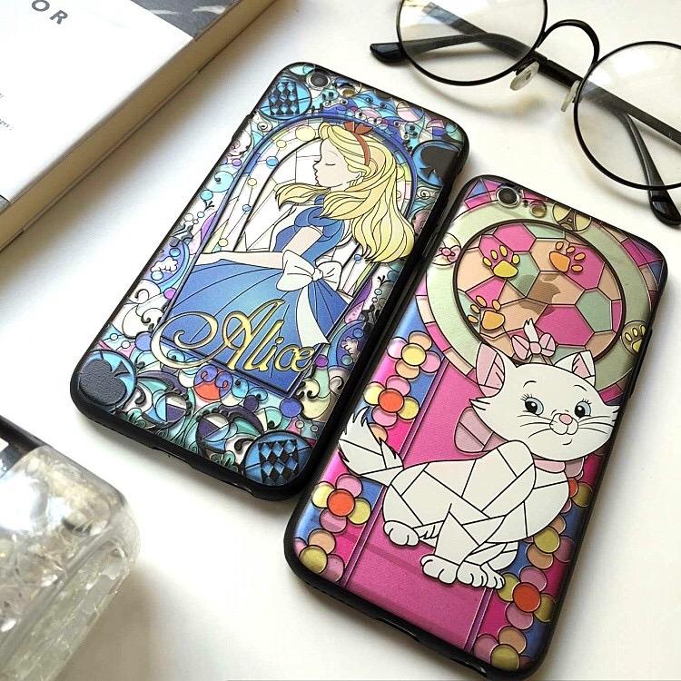 iPhone手機殼愛麗絲.貓咪浮雕磨砂矽膠軟殼蘋果iPhone7 iPhone6手機殼